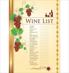 Wine list background vector image vector image