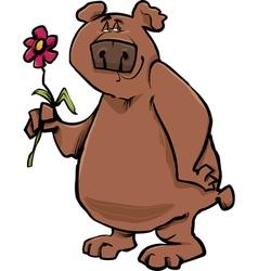 bear with flower cartoon vector image