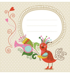 Greeting card cute bird with bouquet vector image vector image
