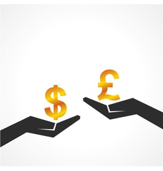 Hand hold dollar and pound symbol to compare vector image