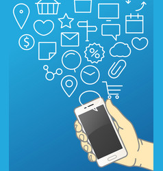 hand holding modern smartphone communication vector image vector image