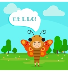 Kid in butterfly insect dress vector