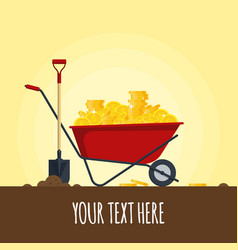 red wheelbarrow full of golden coins isolated on vector image vector image