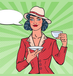 woman drinking morning tea in cafe pop art vector image vector image