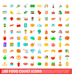 100 food court icons set cartoon style vector image