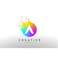 A rainbow dots letter logo letter design with vector