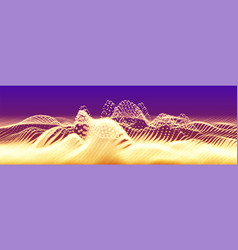 abstract golden particle wave points array vector image
