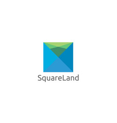 abstract square and land concept logo design vector image