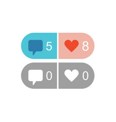 Active and inactive like and comment icons vector