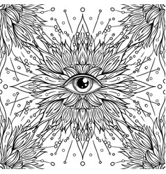 All seeing eye seamless pattern hand drawn vector