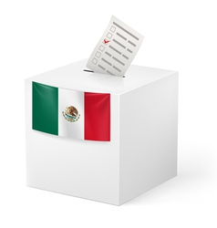 Ballot box with voicing paper mexico vector