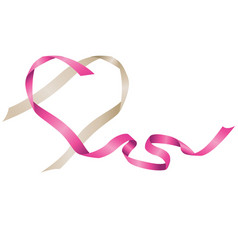 Beautiful pink and silver flowing ribbon heart vector