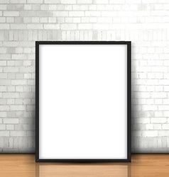 Blank picture leaning against a brick wall vector