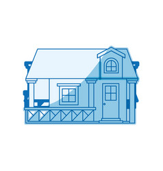 Blue shading silhouette facade house with railing vector