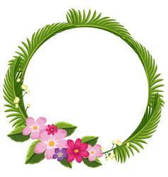 border template with green leaves and pink flowers vector image vector image