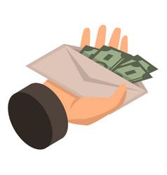 bribery give envelope money icon isometric style vector image