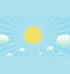 bright sun with shinny and clouds vector image