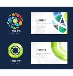business card template set Globe and ring vector image