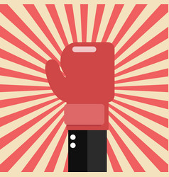 businessman hand with boxing glove on sunburst vector image