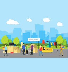 cartoon city panorama and garage sale vector image