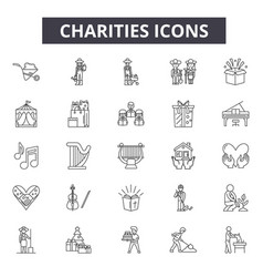 charities line icons for web and mobile editable vector image