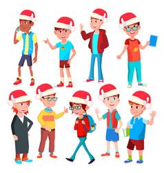 christmas children set santa hat boys vector image