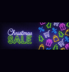 christmas sale neon sign christmas web banner vector image