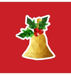 Christmas with origami bell vector image