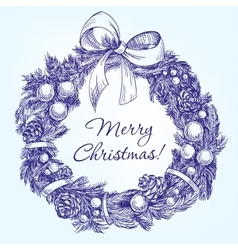 christmas wreath hand drawn llustration vector image