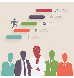 Colorful silhouette businessman with step icons vector image