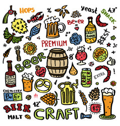 craft beer hand drawn elements set vector image