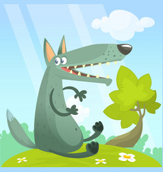 cute cartoon wolf character vector image