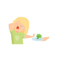 Cute crying girl refusing to eat broccoli kid vector