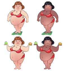 Cute fat woman on the scales and with food in vector