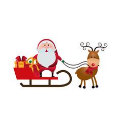 Cute santa claus sled gifts christmas character vector