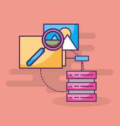 data server searching analysis folder vector image