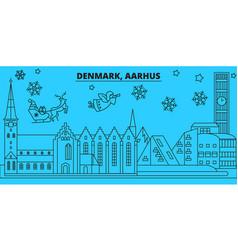 denmark aarhus winter holidays skyline merry vector image