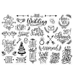 drawn wedding set laurels rings flowers vector image