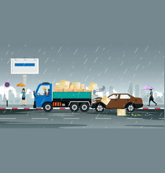Driving accident at rain vector