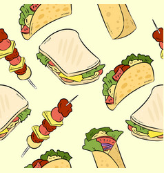 fast food doodles cute seamless pattern vector image