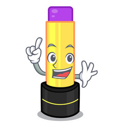 finger lip balm in the cartoon shape vector image