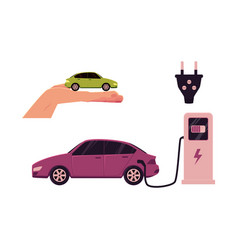 flat electric car charging at station vector image