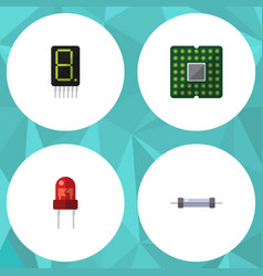 Flat icon electronics set of recipient display vector
