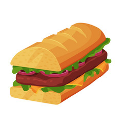 french sandwich loaf with ham slices cheese and vector image