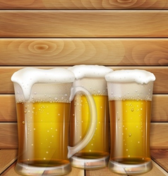 glasses beer and a wooden background vector image