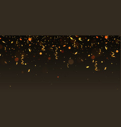 golden cofetti falling on brown background vector image