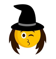 happy witch emoji icon vector image