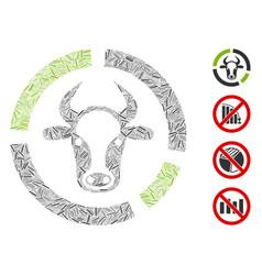Hatch cow diagram icon mosaic vector