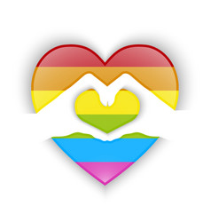heart shape design with gay flag color vector image