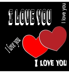 Heart two with quote I love you vector